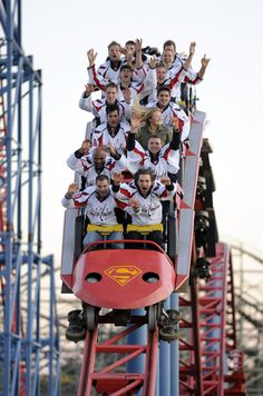 Hockey  Washington Capitals. Roller coaster. Is that Ovi in the front seat?  This would be a great photo for any sports team to take!!!! Fun too! I love this photo!