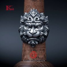 Sterling Silver 925 Monkey King Ring, Wukong, with Aged Finish, Oxidized Silver, Songyan Jewelry Cold Fingers, King Ring, Monkey King, Oil Painters, Face Expressions, The Monks, 3d Models, Swagg, Mythology