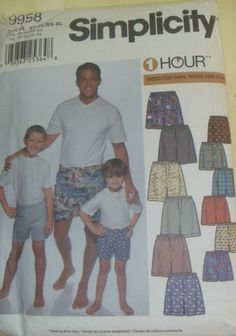 bf0678ad00f SIMPLICITY 9958 Boxer Shorts Underwear Mens Boys Sewing Pattern UNCUT XS-XL  Boys Sewing Patterns