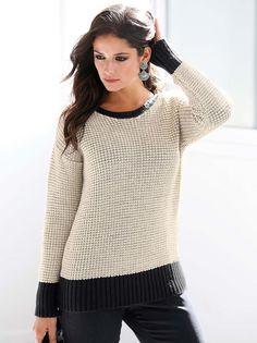 Márcate el punto más original de la temporada con este moderno jersey tricotado en elegante combinación bicolor que va con todo tu vestuario. Favorecedor - Venca - 104078