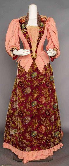 Printed Cut Velvet Bustle Dress, 1890s, Augusta Auctions, November 11, 2015 NYC