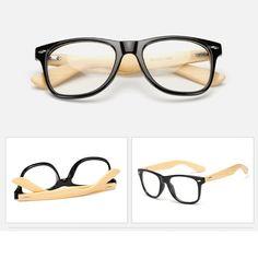 4af42dc3495 handmade bamboo glasses frame plain lens for women and men 1501-15 Wooden  Sunglasses