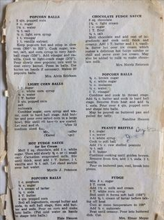 Vintage recipes image by Gillard Filmore on East Clermont Church Cookbook 1966 Retro Recipes, Old Recipes, Vintage Recipes, Cookbook Recipes, Sweet Recipes, Cooking Recipes, Popcorn Recipes, Candy Recipes, Holiday Recipes