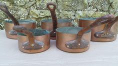 Five Copper Pans Graduated Copper Pans Unrestored Sold As Found Unrefurbished, Unpolished Well Used Missing Tin Scratches Great Quality Set by CopperAntiquity on Etsy
