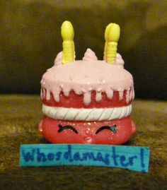 Shopkins Season 1 #85 WISHES Cake Ultra Rare Pink Glitter Mint OOP Free US CS #MooseEnterprises