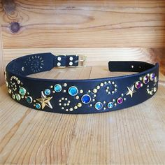 Multicolored crystals, studs and stars decorate this heavenly leather collar for large dogs. #largedogs