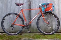 Orange Elephant in Off-Road Configuration #orange #elephant #bike #bicycle #pacenti #quasimoto #quasi #moto #650b #20 #tire #knobby #gravel #grinder #low #trail #porteur #swift #industries #ozette #xl
