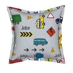 Serama Throw Pillow featuring cars & trucks  XL multi-metro gray linen- PERSONALIZED John by drapestudio | Roostery Home Decor