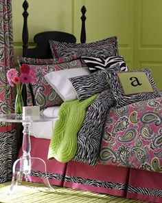Beautiful pink and black zebra designer girls bedding with touches of lime green! She will adore this set!