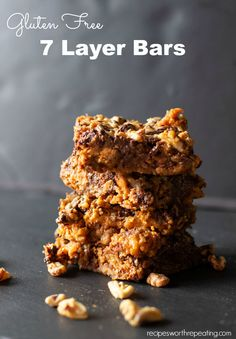 Gluten Free 7 Layer Bars Recipes A buttery gluten free graham cracker crust topped with layers of coconut, chocolate chips, butterscotch chips, and walnuts finished with cond. Gluten Free Desserts, Fun Desserts, Delicious Desserts, Yummy Snacks, Healthy Snacks, Healthy Eating, Best Dessert Recipes, Snack Recipes, Free Recipes