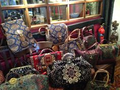 A selection of our beautiful handmade #carpetbags!