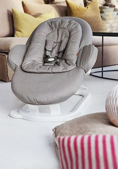 Close-up view of the all-new, innovative Stokke Steps Bouncer, which features an innovative, unique cradling motion.... The Stokke Steps are also a modular system, converting to a functional highchair and later, a versatile chair that can be used throughout childhood. Coming soon!