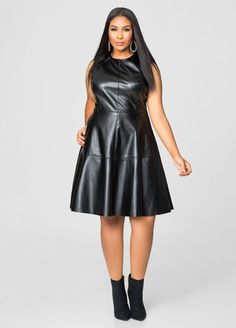 Quilted Faux Leather Skater Dress #plussize #fashion #dress ...
