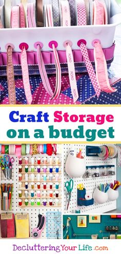 Craft Room Ideas on a budget - DIY ideas for organizing craft rooms and craft storage hacks. Dollar Store organization ideas and other creative craft room organization ideas, tips and tricks