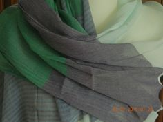 QUIRKY LARGE GREEN BLUE WHITE STRIPE SCARF WRAP RETRO VINTAGE DITSY LAGENLOOK UK