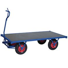 A very sturdy heavy-duty platform truck. Extremely easy to manoeuvre around tricky corners due to it's tight turning circle, this truck also has an integral braking system which locks into place when the handle is set in an upright position. Wheelbarrow, Ping Pong Table, Picnic Table, Turntable, Garden Cart, Trucks, Turning, Platform, Handle