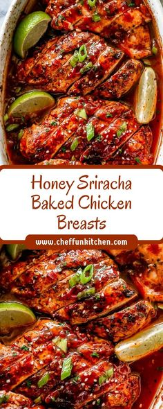 Honey Sriracha Baked Chicken Breasts - Chef Fun Kitchen - list of healthy recipes Baked Chicken Breast, Chicken Breasts, Baked Chicken Marinade, Baked Hen Recipe, Honey Sriracha Sauce, Sriracha Recipes, Breast Recipe, Food Dishes, Main Dishes