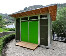 Studio Shed | Modern Shed : Storage shed with bright green custom door - Configure your own Studio Shed with custom paint colors http://www.studio-shed.com/shed-configurator/step1.php