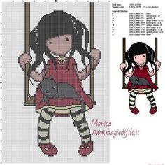 gorjuss_avec_chat_grille_point_de_croix_ Cross Stitch Patterns, Harry Potter, Family Guy, Crochet, Fictional Characters, Blog, Girl Beanie, Crocheted Scarf, Crochet Scarfs