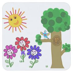 #Coaster #Kids #Children Happy Garden Childrens Square Paper Coaster. $1.30