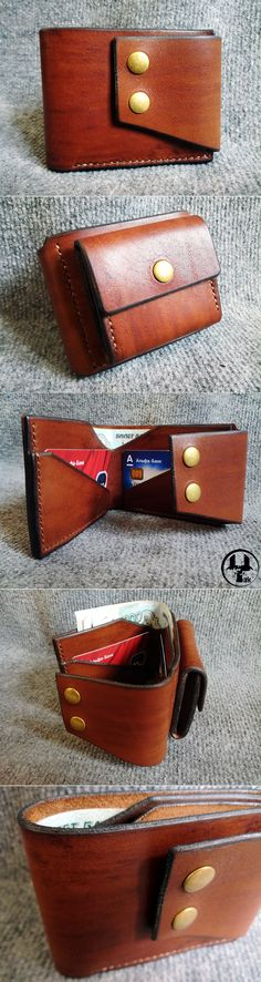 Кожаный кошелек ручной работы, купить Leather Wallet Pattern, Small Leather Wallet, Leather Purses, Leather Handbags, Leather Diy Crafts, Leather Projects, Leather Tooling, Leather Men, Coin Purse Wallet