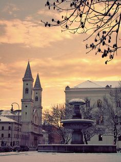 St. Ludwig München and the fountain by X why and Z via Flickr
