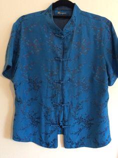 Monsoon Cobalt Blue Silk Mix Oriental Style Kimono Mandarin Floral Shirt S14 B8  | eBay  £9.19 (2B) +2.90PP