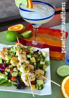 Spicy Margarita Shrimp Salad! So incredible...Is it Cinco de Mayo yet? I've got my tequila ready to go :)  Calories: 398 • Fat: 16 g • Protein: 30 g • Carbs: 30 g • Fiber: 10 g • Sugar: 9 g