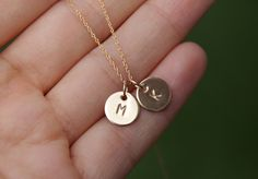 initial necklace, tiny initial necklace, gold filled initial, monogram necklace, personalized necklace. $30.00, via Etsy.