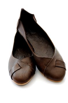 brown leather flats with x-cross