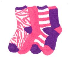 4-Pack Microfiber Fuzzy Anti-Skid Printed Cozy Socks