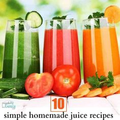 10 simple homemade juice recipes for beginners Great for kids, too! 10 simple homemade juice recipes for beginners Great for kids, too! Homemade Juice Recipe, Healthy Juice Recipes, Nutribullet Recipes, Jello Recipes, Healthy Juices, Healthy Smoothies, Smoothie Recipes, Whole30 Recipes, Detox Juices