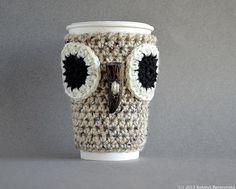 (4) Name: 'Crocheting : Owl Coffee Sleeve Cup Cozy