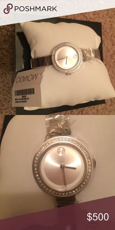 Movado Swiss movement watch Bangle like watch so cute! All links. Never worn. Got as a gift! I don't wear silver only gold or rose gold. Boo cause it is so cute Movado Accessories Watches