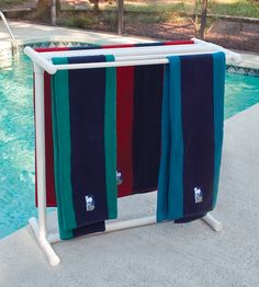"This looks easy to make. I'm not sure why it is called ""designer"". It's made of PVC pipe. 5 Bar Designer PVC Pool Spa Towel Rack by heather Pvc Pool, Pool Spa, Pvc Pipe Projects, Outdoor Projects, Piscina Diy, Towel Rack Pool, Towel Racks, Tube Pvc, Living Pool"