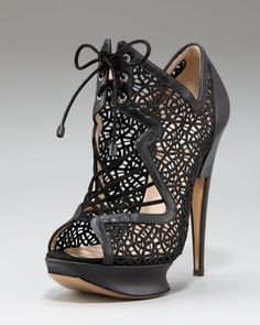 intricate design in a statement shape Glittered Macrame Lace-Up Platform Sandal by Nicholas Kirkwood at Neiman Marcus.