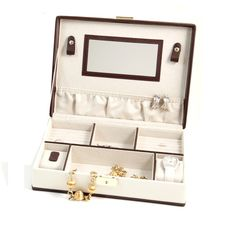 This amazing Ivory & Brown Leather Jewelry Box W/ Compartments, 2 Watch Pillows features soft velour lined, ring and earring slots, watch and bracelet pillows, locking clasp. It is the best option to keep your jewellery safe and new. Leather Jewelry Box, White Jewelry Box, Bone Jewelry, Jewellery Boxes, Jewellery Storage, Brown Home Decor, Custom Gift Boxes, Brown Leather, Ivory