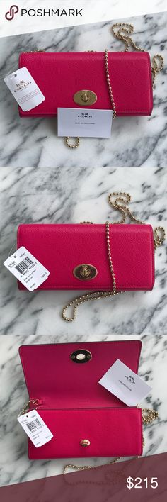"💖COACH💖 Leather Chain Wallet Turnlock-NWT COACH CROSSGRAIN LEATHER SLIM CHAIN ENVELOPE WALLET IN PINK RUBY. Features-a long ball chain for crossbody or shoulder  Crossgrain leather Signature Coach Logos Goldtone Hardware Approx. 24"" inch Ball Chain drop which can be taken off  6 Card Slots Back Slip Pocket One Bill Pocket One Interior Multi-function Pocket Zippered Coin Pocket w/2Compartments 8""Wx4""Hx1.5""D Approximate Dimensions 100% authentic/NWT  Protective coverings on hardware & care…"