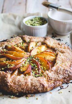 Bourbon-Honey Peach Galette with Buttermilk Crust & Pistachios - Butterlust Beaux Desserts, Almond Recipes, Deep Dish, Food Processor Recipes, The Best, Sweet Tooth, Food Photography, Dessert Recipes, Food And Drink