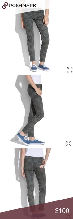 """Madewell Skinny Skinny Ankle Jeans in Camo Never worn skinny ankle jeans in camo. Sits at hips. Stretchy denim. Fitted through hip and thigh with a slim leg. Front rise: 8"""". Inseam: 28"""". Machine wash. 93% cotton; 6% poly; 1% spandex. Item B0626. Madewell Jeans Skinny"""