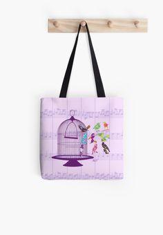 #PurpleBirdcage&Birds #SheetMusic #ToteBag by #MoonDreamsMusic