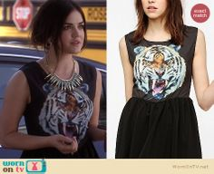 Aria's tiger face dress and big cat graphic blazer on Pretty Little Liars. Outfit Details: http://wornontv.net/18413