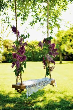 Lilac branches tied to a garden swing . Full details on Modern Country Style b. Lilac branches t Garden Wedding, Dream Wedding, Wedding Swing, Spring Wedding, Party Garden, Wedding Backyard, Forest Wedding, Perfect Wedding, Secret Garden Parties