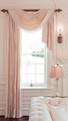 Window Treatment Solutions at Sheffield Furniture & Interiors one side panel + draping scarf valance, love this bedroom window treatment Home Curtains, Curtains Living, Swag Curtains, Burlap Curtains, Bedroom Valances, Scarf Valance, Window Scarf, Custom Blinds, Tapestries