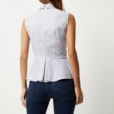 Blue stripe sleeveless peplum shirt