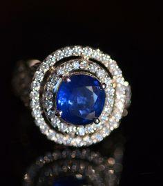 Royal 18K Gold Sapphire Double Halo 1.37 Carat Diamond Ring