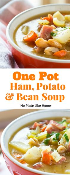 This delicious One Pot Ham, Potato and Bean Soup is made with a leftover ham bone which, renders a tasty, flavorful broth. This recipe is basically ham and bean soup with potatoes. It will warm you up on cold or rainy winter days! Pin for later!