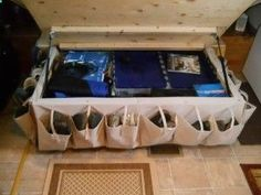This blog has some AMAZING ideas for maximizing the space in your RV including this one for organizing shoes!