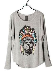 Grey Indian Skull Dolman Long Sleeve Curved Hem T-shirt