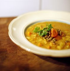 Indian Lentil Soup Recipe Soups with extra-virgin olive oil, yellow onion, garlic, fresh ginger, curry powder, ground turmeric, ground chile, medium potatoes, carrots, yellow lentils, vegetable stock, sea salt, tomatoes